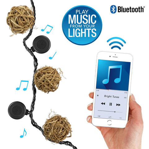 Bright Tunes Indoor/Outdoor LED  Decorative Rattan Globe String Lights with Bluetooth Speakers Alt 1