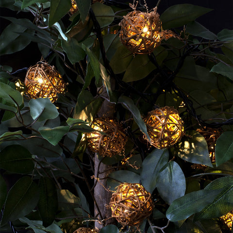 Bright Tunes Indoor/Outdoor LED  Decorative Rattan Globe String Lights with Bluetooth Speakers Alt 2