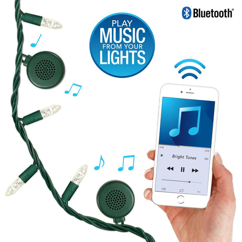 Bright Tunes Indoor/Outdoor LED Warm White traditional tip Lights with Bluetooth Speakers Alt 1
