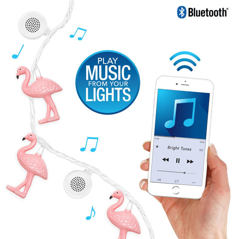 Bright Tunes Indoor/Outdoor Pink Flamingo LED String Lights with Bluetooth Speakers Alt 1