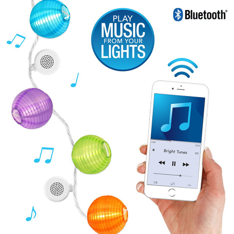 Bright Tunes Indoor/Outdoor LED Decorative Nylon Lanterns String Lights with Bluetooth Speakers Alt 1
