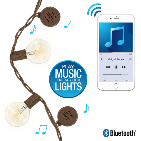 Bright Tunes Indoor/Outdoor Warm Incandescent Clear Round Bulbs Lights with Bluetooth Speakers