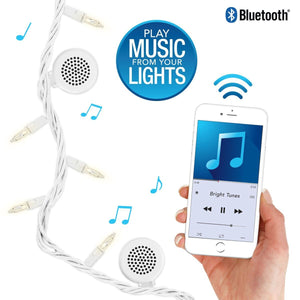 Bright Tunes Indoor/Outdoor Warm White Incandescent String Lights with Bluetooth Speakers