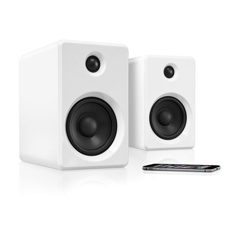 Innovative Technology Rechargeable Bluetooth Wireless 50 watt Bookshelf Speakers, White