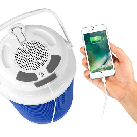 Rechargeable Bluetooth Waterproof  Speaker Cooler with Built-in Battery Charger, Blue Alt 1