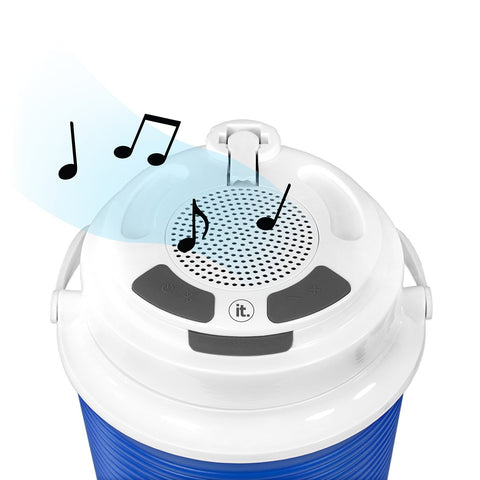 Rechargeable Bluetooth Waterproof  Speaker Cooler with Built-in Battery Charger, Blue Alt 2