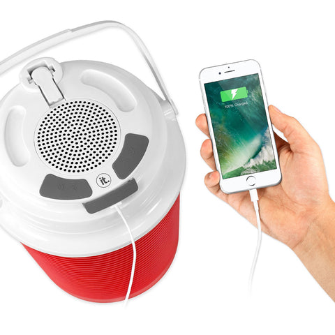 Rechargeable Bluetooth Waterproof  Speaker Cooler with Built-in Battery Charger, Red Alt 1