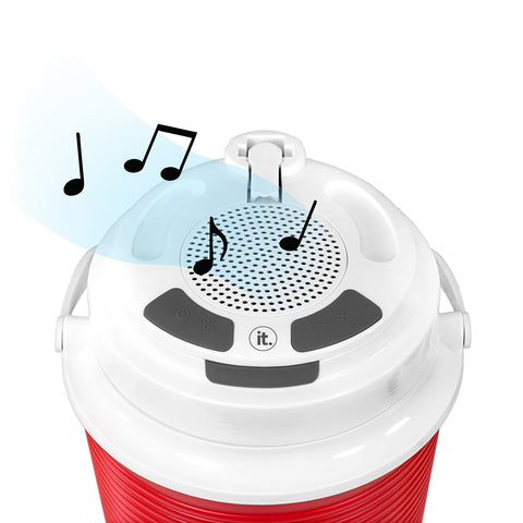 Rechargeable Bluetooth Waterproof  Speaker Cooler with Built-in Battery Charger, Red Alt 2