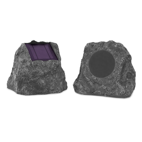 Innovative Technology Pair of 10 Watt Solar Charging Bluetooth Outdoor Rock Speakers, Grey