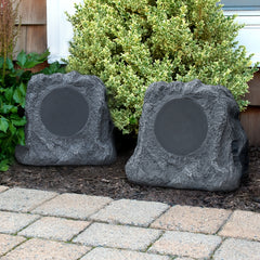 Innovative Technology Pair of Solar Charging Bluetooth Outdoor Rock Speakers, Grey
