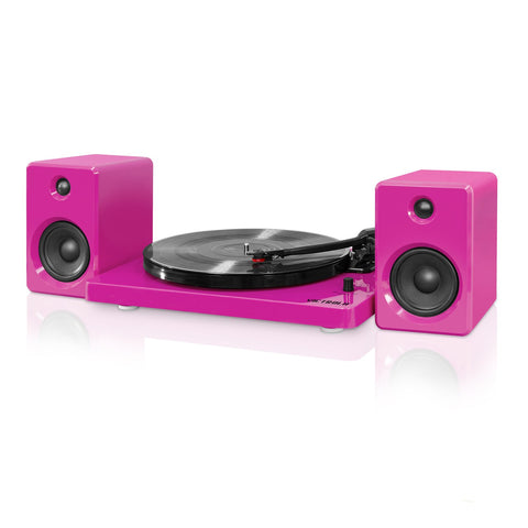 Victrola Modern Design 50 watt Record Player with Bluetooth and 3 Speed Turntable, Pink