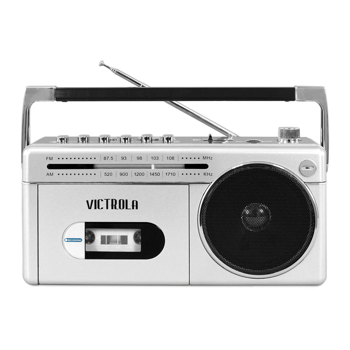 Victrola Mini Bluetooth Boombox with Cassette Player, Recorder and AM/FM Radio