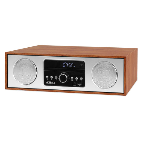 Victrola 30 Watt Wooden Bluetooth Microsystem with CD, USB and Radio, Maple