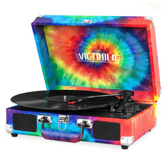 Victrola Bluetooth Portable Suitcase Record Player with 3-speed Turntable, Tie Dye Main