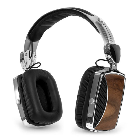 Victrola Wood and Chrome Rechargeable Bluetooth Headphones Main