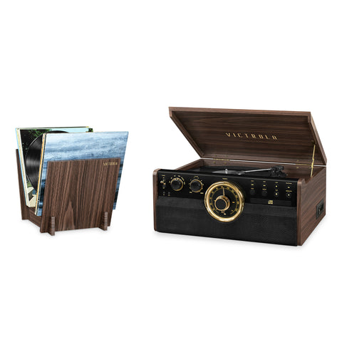 Victrola 6-in-1 Wood Bluetooth Mid Century Record Player with 3-Speed Turntable, CD, Cassette Player and Radio with Matching Crate