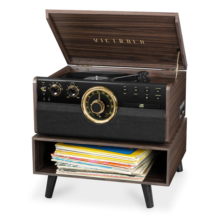 Victrola 6-in-1 Wood Bluetooth® Mid Century Record Player with 3-Speed Turntable, CD, Cassette Player and Radio with Storage Stand, Espresso