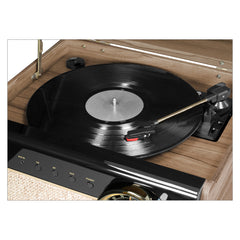 Victrola's 4-in-1 Austin Bluetooth Record Player with 3-Speed Turntable and FM Radio, Farmhouse Walnut