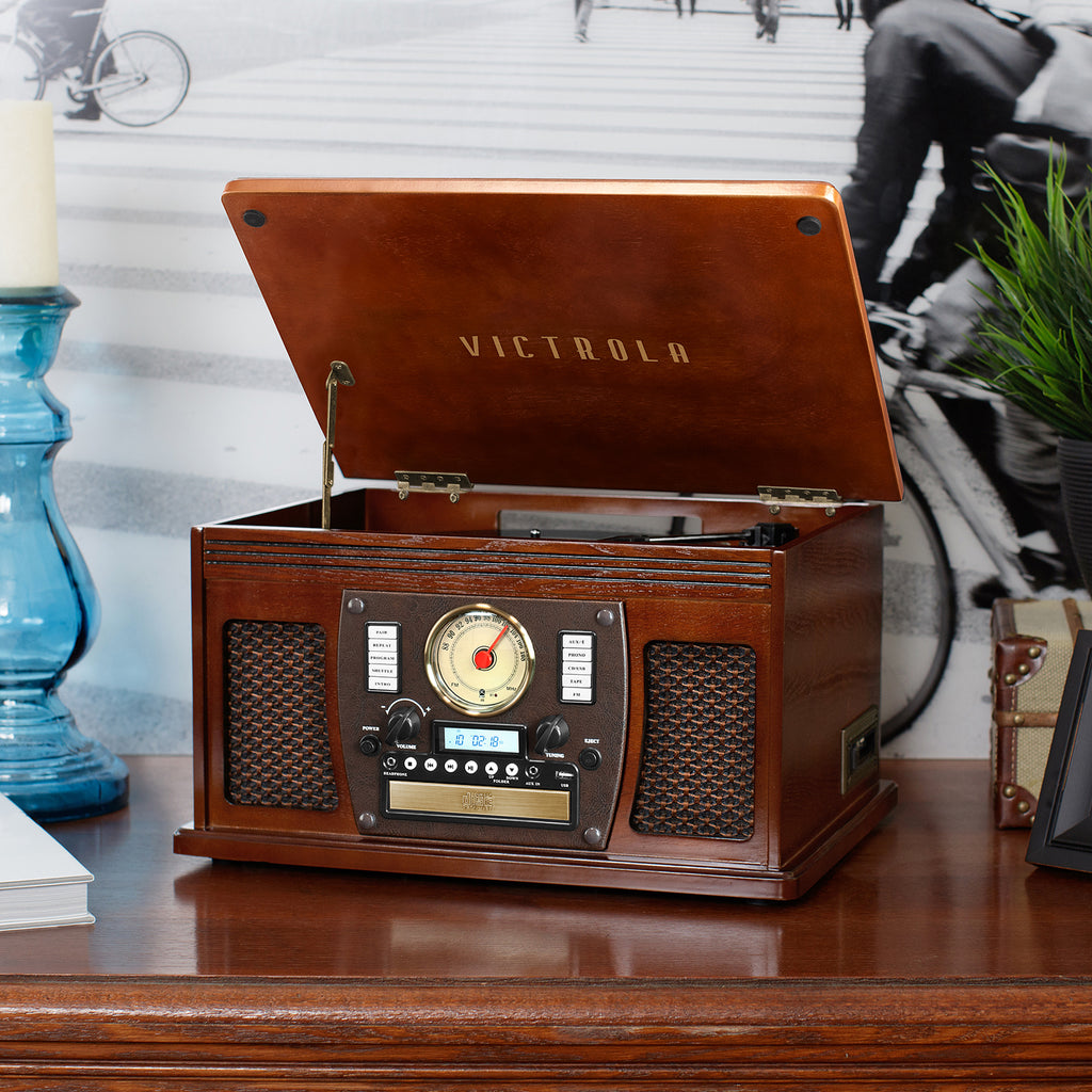 Victrola Wood 8-in-1 Nostalgic Bluetooth Record Player with USB Encoding and