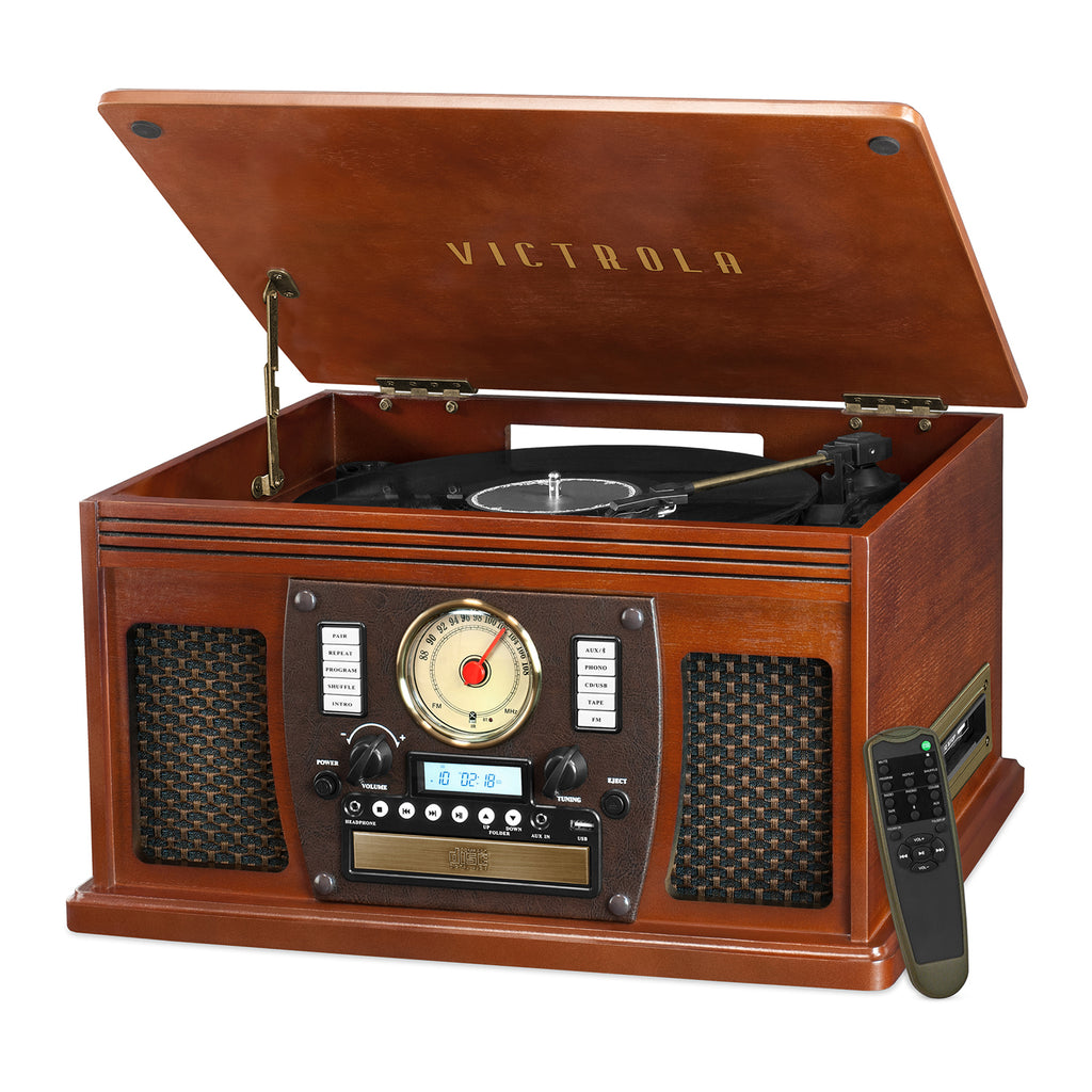 Victrola Wood 8-in-1 Nostalgic Bluetooth Record Player with USB Encoding on
