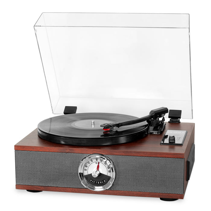 Victrola 5-in-1 Wood Bluetooth® Record Player with 3-Speed Turntable, CD and Radio