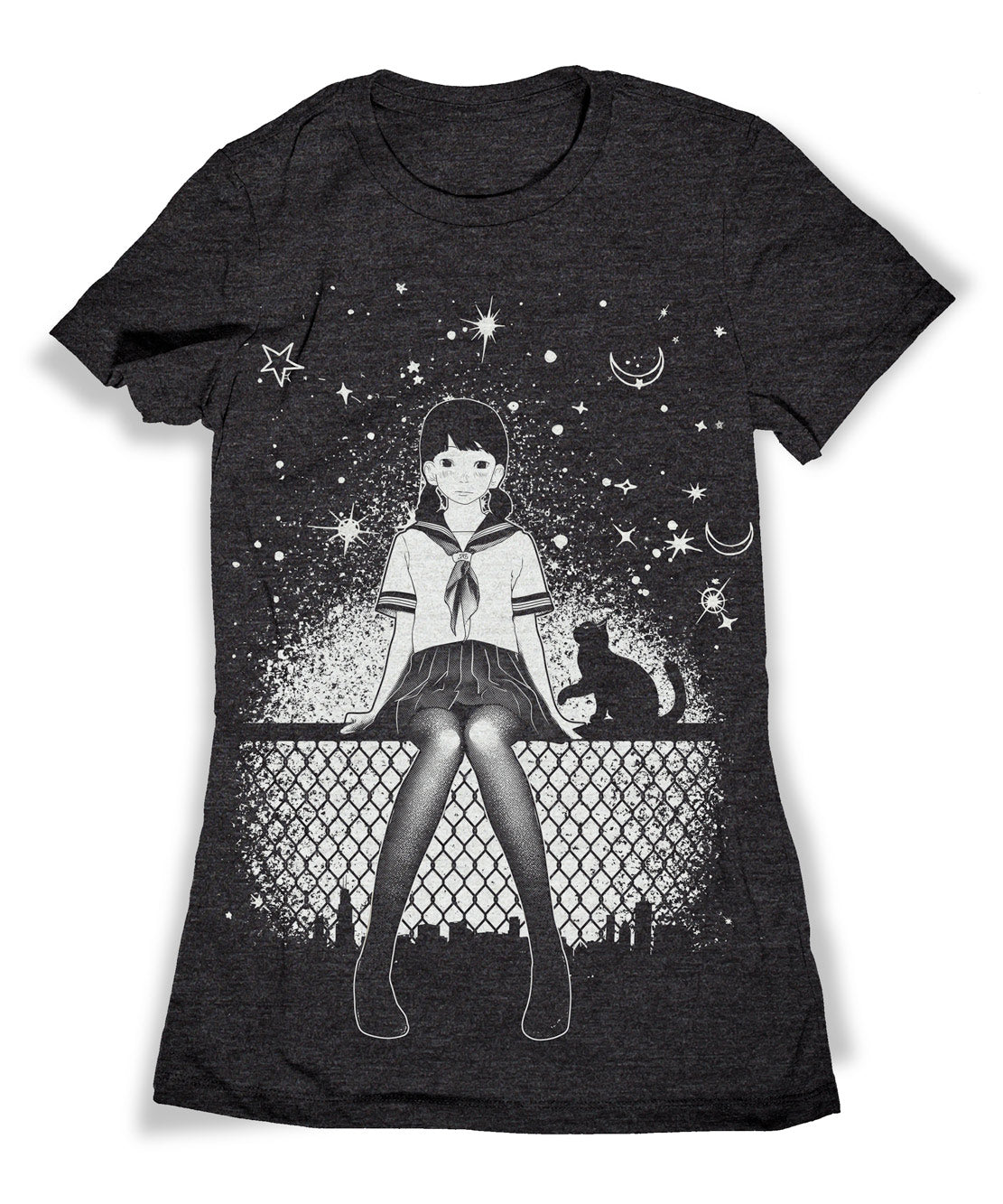 Anime Girl with Cat & Stars T-shirt