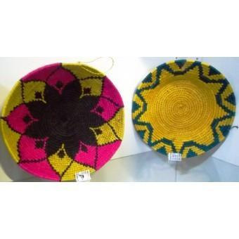 Bright coloured fibre baskets