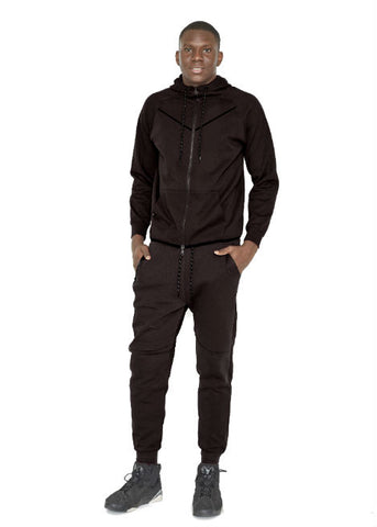 Rich Cotton Tech Fleece Set Top Bottom Black