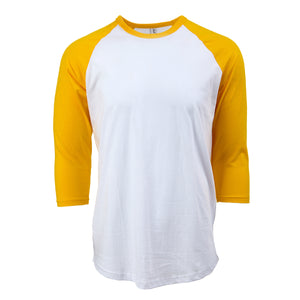 Raglan Baseball T-shirt White/Yellow - Rich Cotton