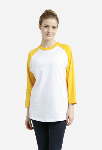 Raglan Baseball T-shirt White/Yellow