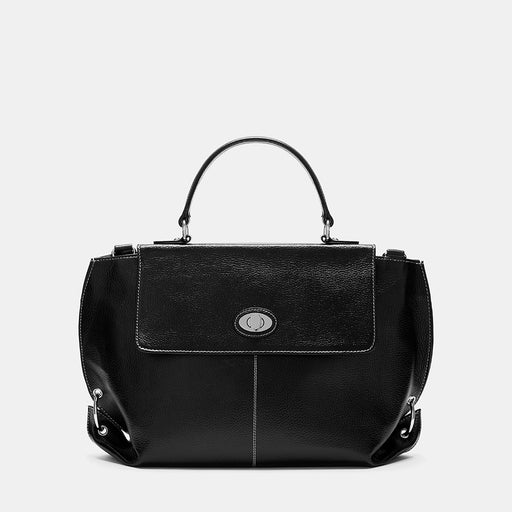 Oxford Black Contrast Stitch Leather Tote