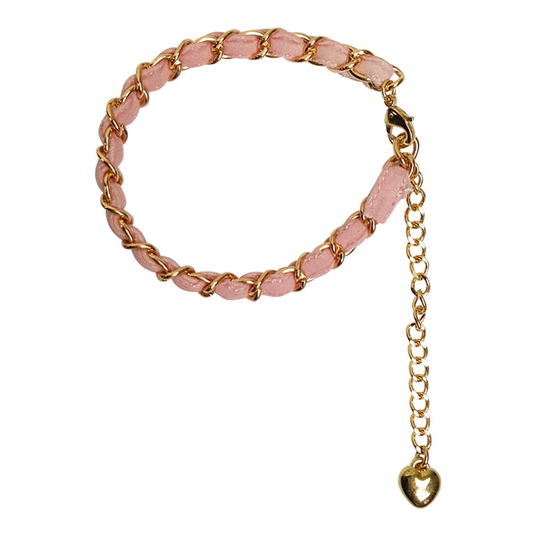 Gold Tone Chain Anklet With Fabric Strap