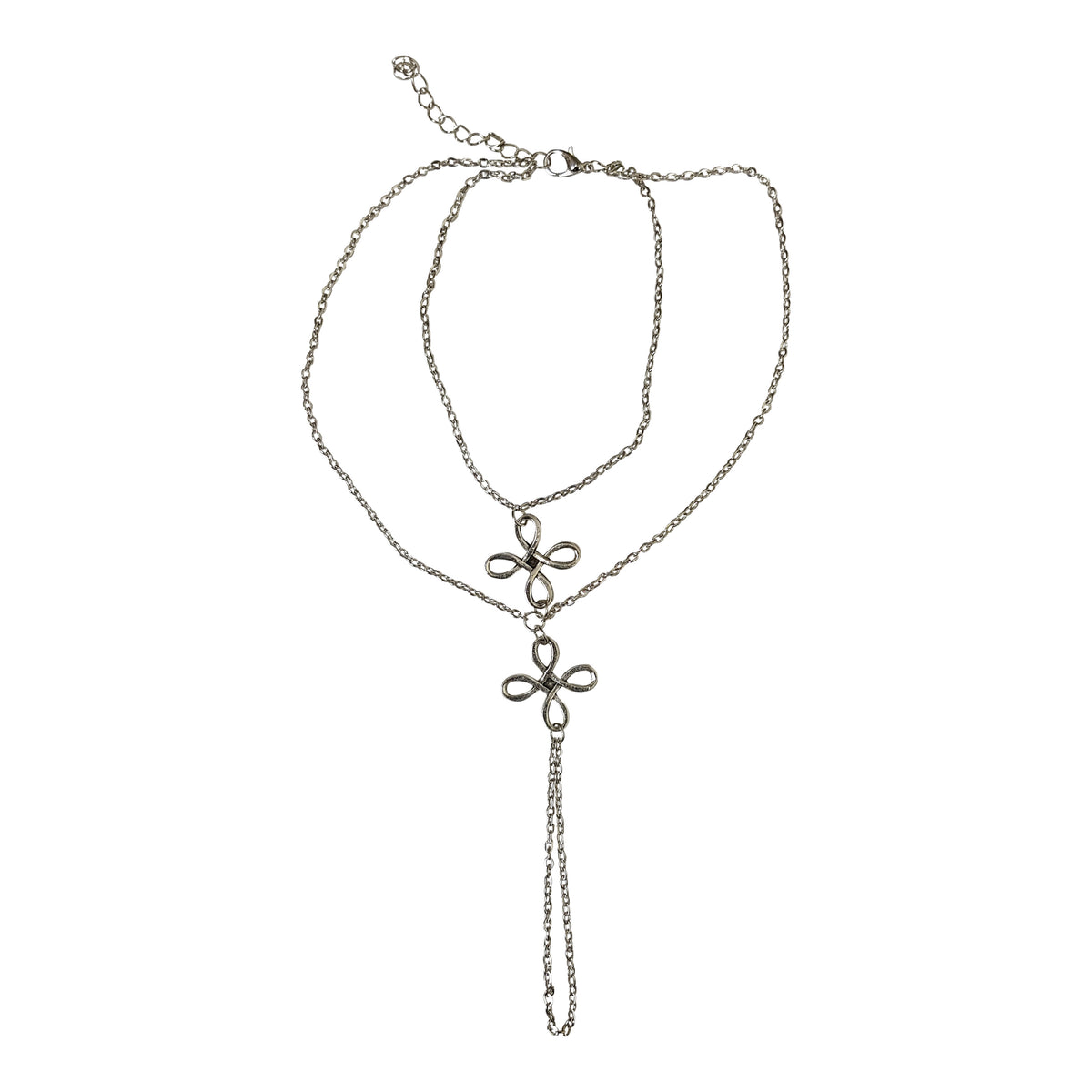 Double Flower Silver Foot Chain