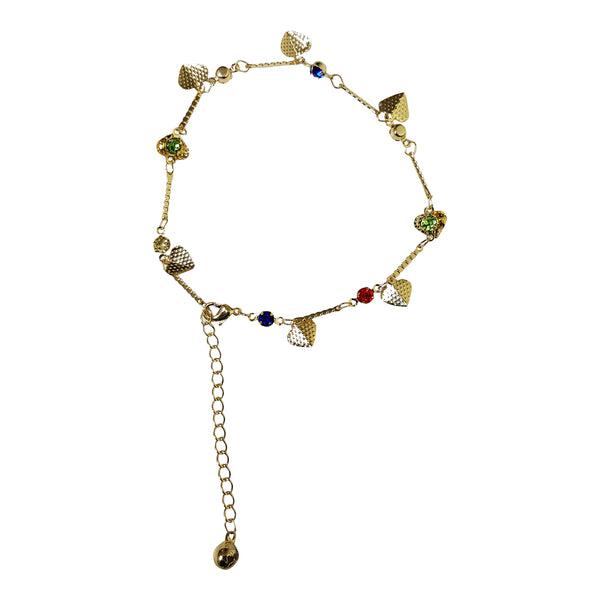 Gold Plated Gem and Heart Charm Anklet