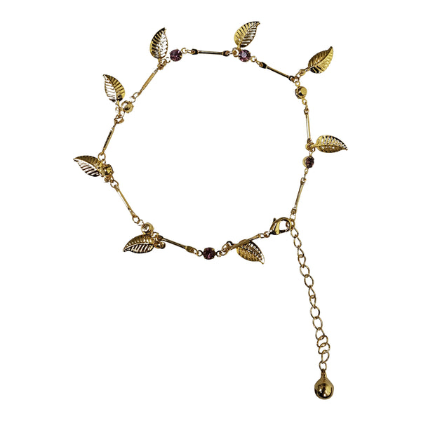 Gold Plated Gem and Leaf Charm Anklet