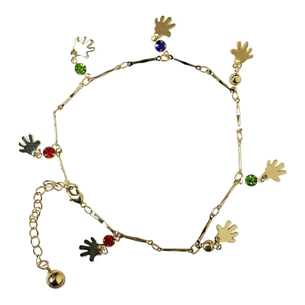 Gold Plated Gem and Hand Charm Anklet