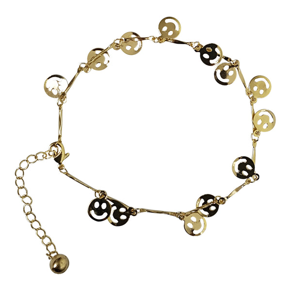 Gold Plated Gem and 'Happy Face' charm Anklet