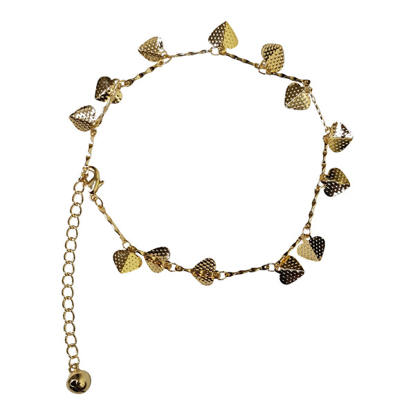Gold Plated Pitted Heart Charm Anklet