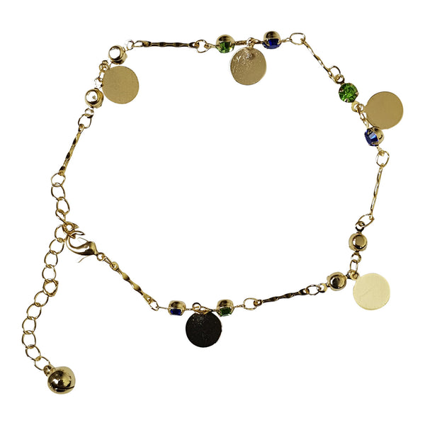 Gold Plated Gem and Circle Charm Anklet
