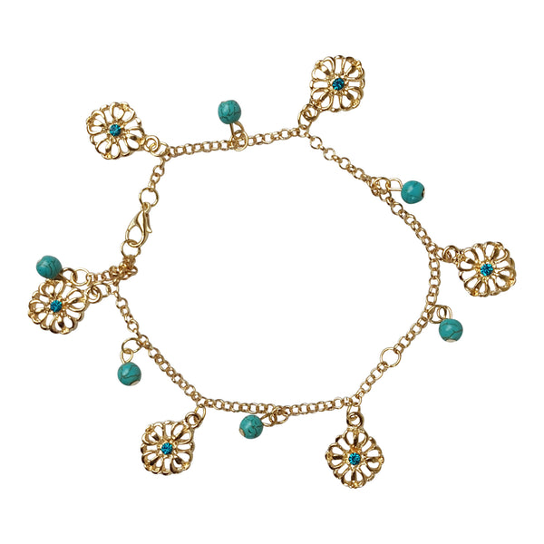 Turquoise and Gold Tone Double Chain Anklet