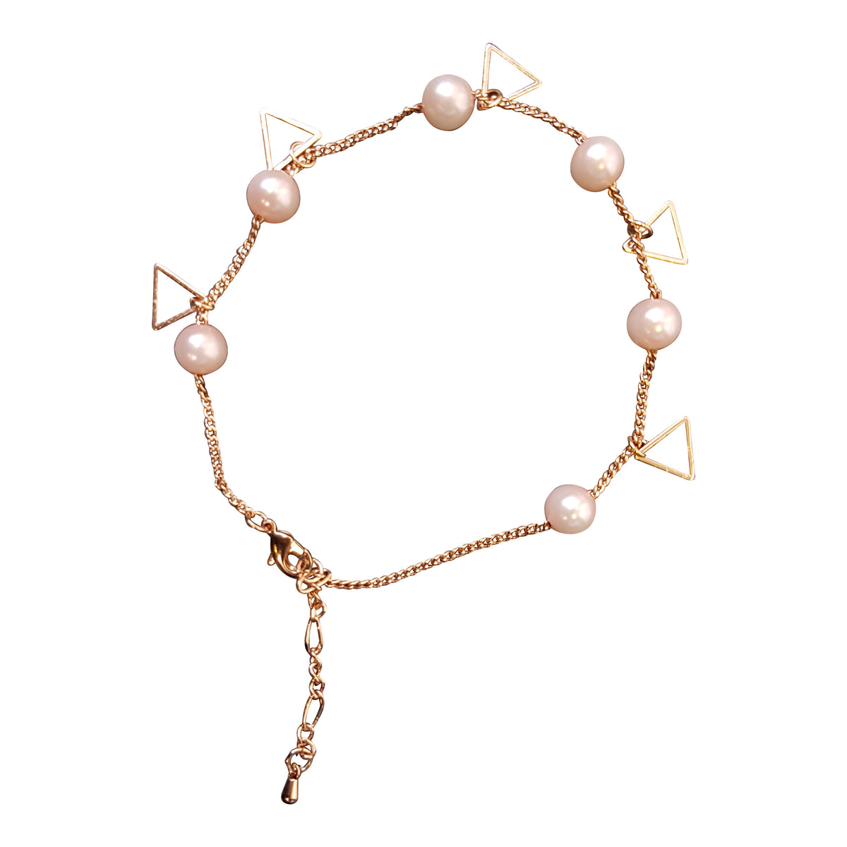 Rose Gold Plated Pink Pearl Anklet