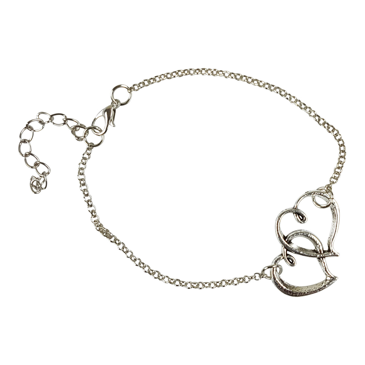 Double Heart Silver Foot Chain