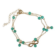 Turquoise and Gold Tone Infinity Charm Double Chain Anklet
