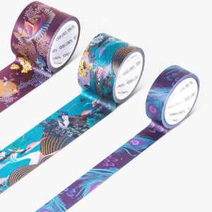 3 Piece Peacock Emerald Gilded Washi Tape Set - The Washi Tape Shop
