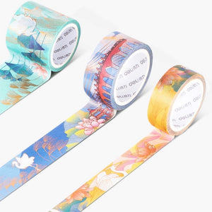 3 Piece Lotus Crane Gilded Washi Tape Set | The Washi Tape Shop. Beautiful Washi and Decorative Tape For Bullet Journals, Gift Wrapping, Planner Decoration and DIY Projects