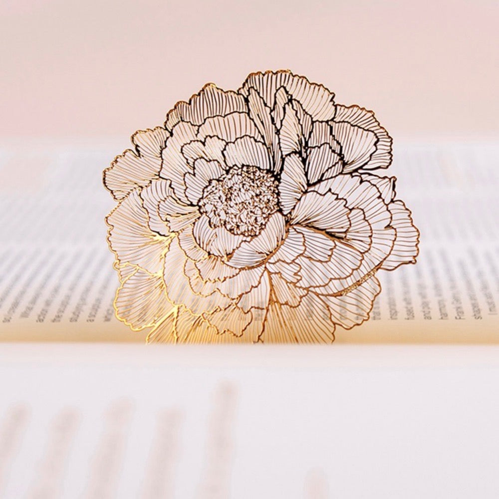 Peony 18K Gold Plated Bookmark | The Washi Tape Shop. Beautiful Washi and Decorative Tape For Bullet Journals, Gift Wrapping, Planner Decoration and DIY Projects