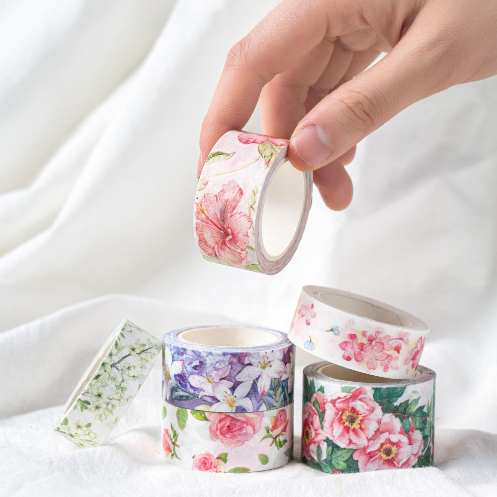 rose set of 12 spring summer floral washi tape stocking filler gift Washi Tape set 15mm x 5m each tape mixed colours flowers