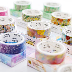 Floral Clouds Gold Foil Flower Washi Tape - The Washi Tape Shop