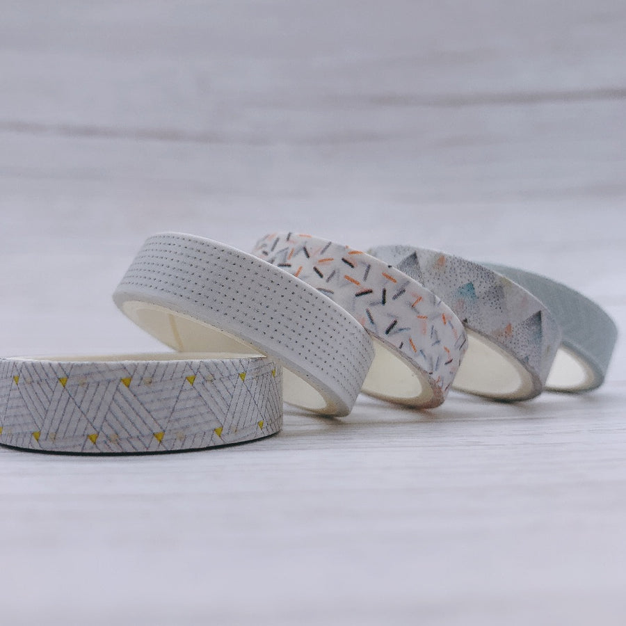 5 Piece Snow Mosaic Washi Tape Set | The Washi Tape Shop. Beautiful Washi and Decorative Tape For Bullet Journals, Gift Wrapping, Planner Decoration and DIY Projects