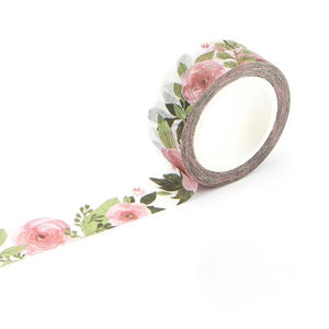 Japanese Camellia Flower Washi Tape 15mmx7m | The Washi Tape Shop. Beautiful Washi and Decorative Tape For Bullet Journals, Gift Wrapping, Planner Decoration and DIY Projects
